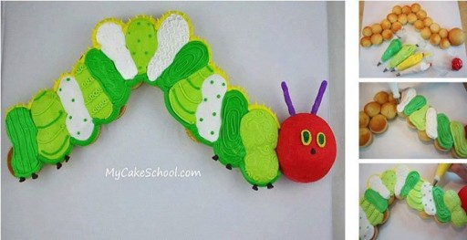 Caterpillar Cup Cake Decorating