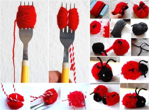 Crafts For Kids - Cute Pom Pom Yarn Ladybugs