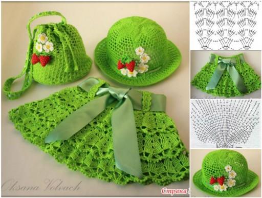 Cute DIY Crochet Hat, Skirt, Bag Set For Little Girls