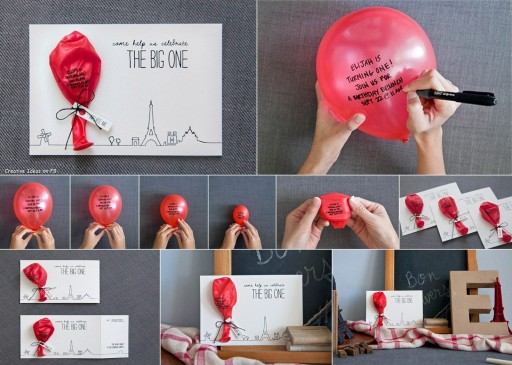 DIY Balloon Birthday Invitations