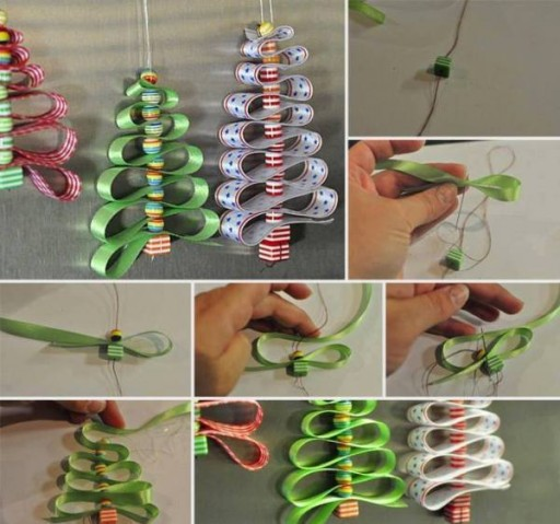 DIY Beads & Ribbon Christmas Tree