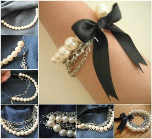 DIY Chained Pearl Bracelet
