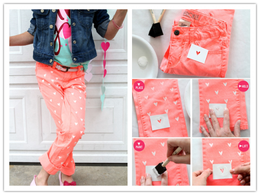DIY Clothes - Painted Heart Jeans