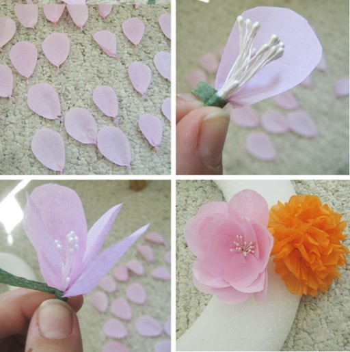 DIY Paper Flower Wreath Tutorial 3