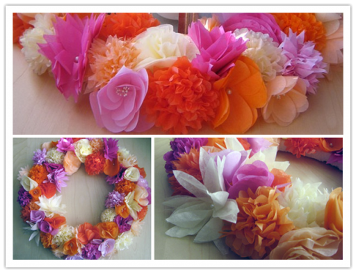 DIY Paper Flower Wreath Tutorial