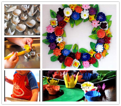 Easy Crafts For Kids - Recycled Egg Carton Wreath
