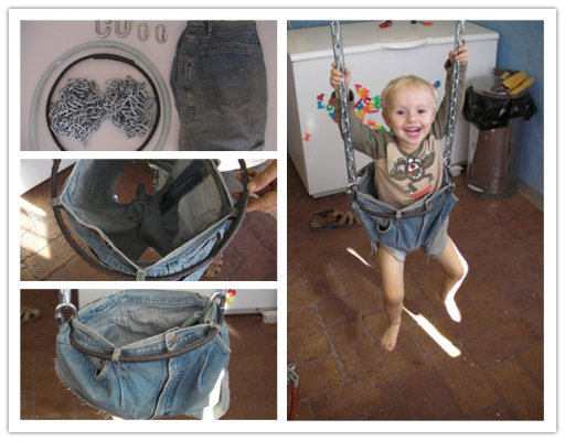 How To Make A Swing For Toddlers With Denim Jeans