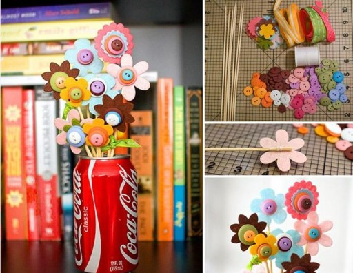 How To Make DIY Button Flower Bouquet