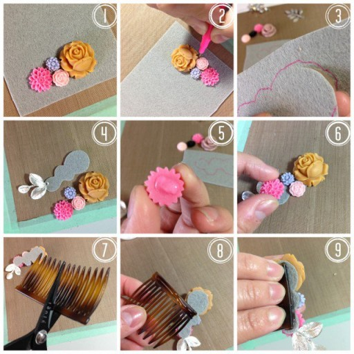 How To Make DIY Flower Combs Hair Accessories 1