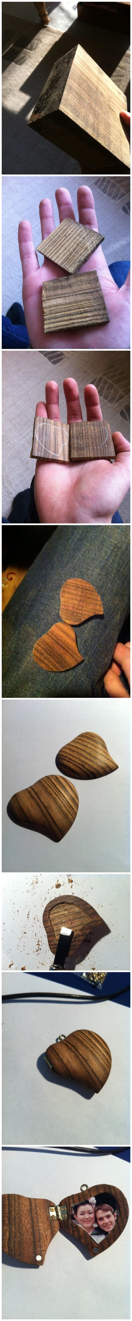 How To Make DIY Locket From A Piece Of Wood 9