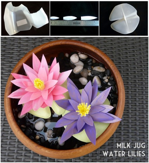 How To Make Water Lilies From Milk Jugs