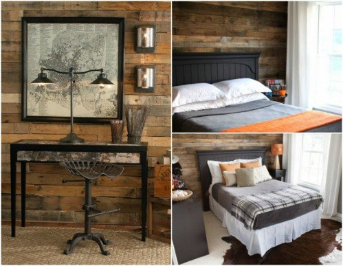 Interior Design - Rustic Pallet Bedroom Wall