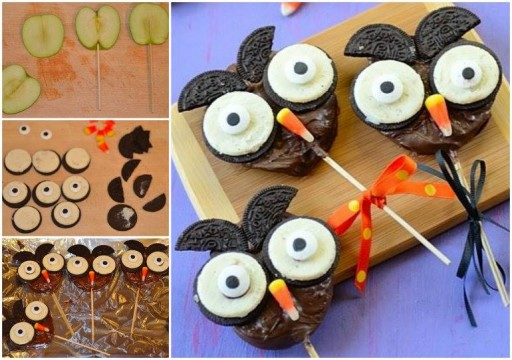 Lovely Chocolate Apple Owl Halloween Treats