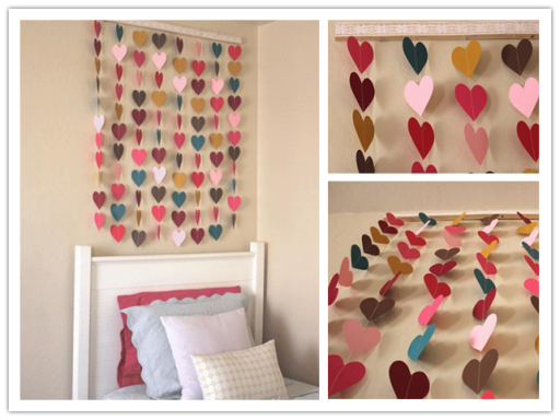 Paper heart wall art diy decorating tutorial diy tag for Diy decorating bedroom ideas