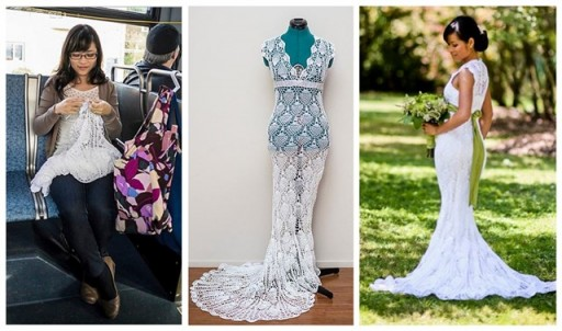 This Lovely Bride Crochets Her Own Dress On Her Daily Bus Ride In Five Months