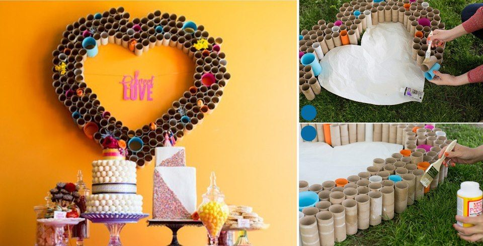 Toilet paper roll crafts how to make heart wall art diy for Toilet paper roll art projects