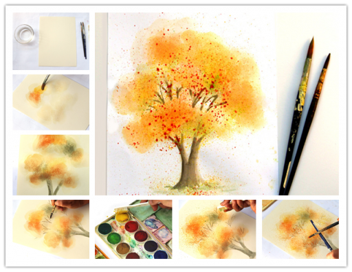 Water Color Painting Ideas - How To Paint Fall Tree In 10 Minutes