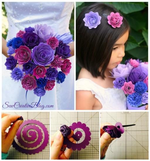 Wedding Ideas - DIY Paper Bridal Bouquet And Flower Girl Barrettes Tutorial