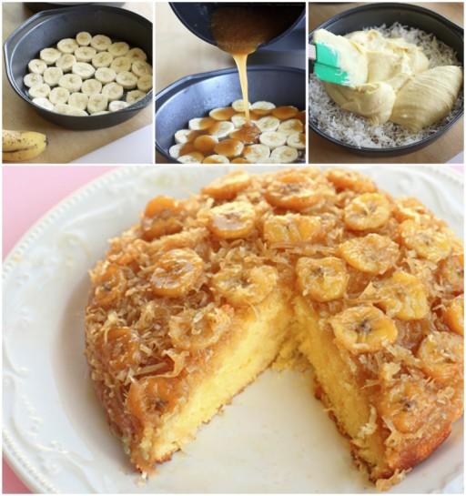 Yummy Banana Coconut Upside Down Cake Recipe