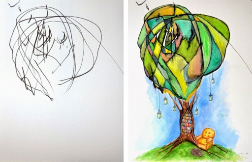 How An Artistic Mom Turned Her 2-year-old's Sketches Into Watercolor Paintings 2