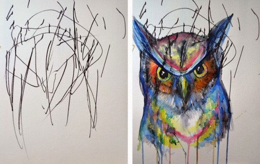 How An Artistic Mom Turned Her 2-year-old's Sketches Into Watercolor Paintings 3
