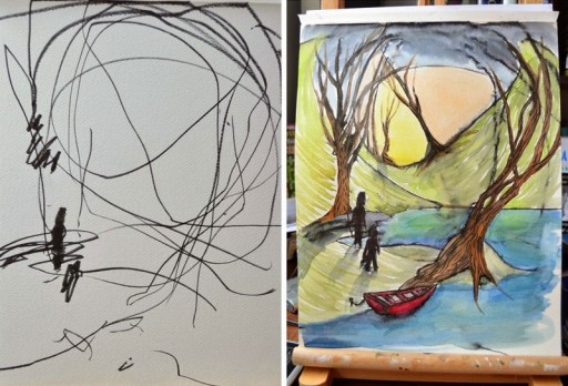 How An Artistic Mom Turned Her 2-year-old's Sketches Into Watercolor Paintings 4