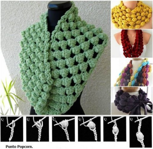 How To Crochet Popcorn Stitch Scarf 2