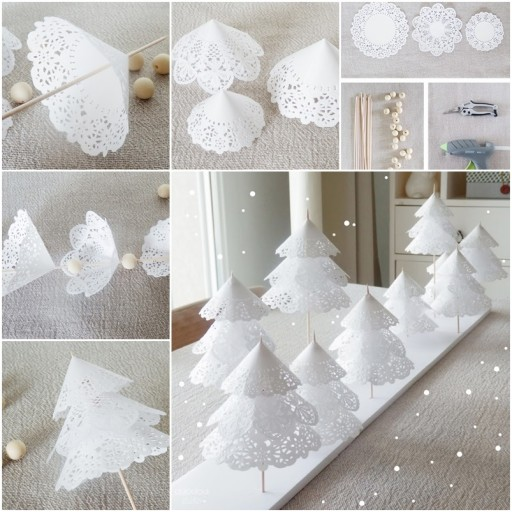 How To Make DIY Paper Doily Christmas Trees
