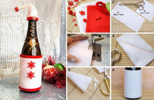 Quick And Easy Christmas Champagne Bottle Decorations