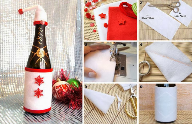 quick and easy christmas champagne bottle decorations - Christmas Bottle Decorations