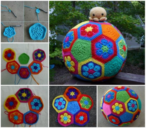 Colorful African Flower Soccer Ball Free Crochet Pattern