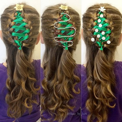 Corset Ribbon Christmas Tree Hair Braid Tutorial