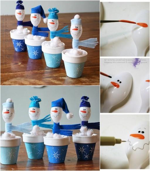Crafts For Kids - DIY Plastic Spoon Snowmen