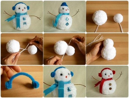 DIY Pom Pom Snowman Craft Project