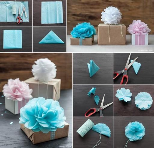 DIY Tissue Paper Pom Poms Flower Gift Toppers