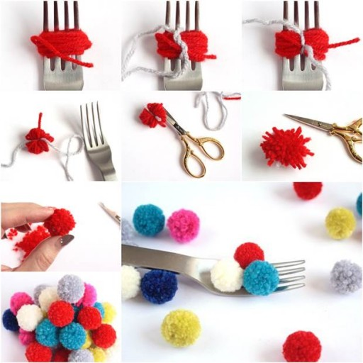 How To Make Pom Poms With A Fork