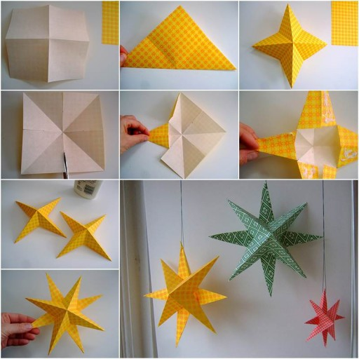 How to make simple paper star home decor diy tag for Home decorations to make