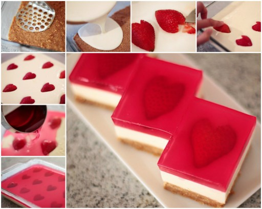 No Bake Strawberry Jelly Heart Dessert Recipe