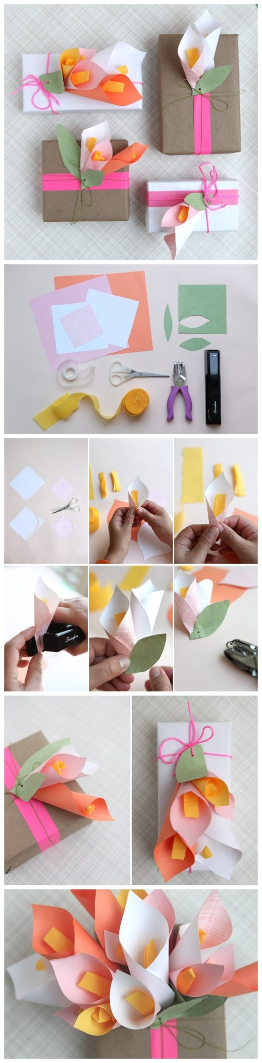 Paper Calla Lilies DIY Gift Wrapping Tutorial 1