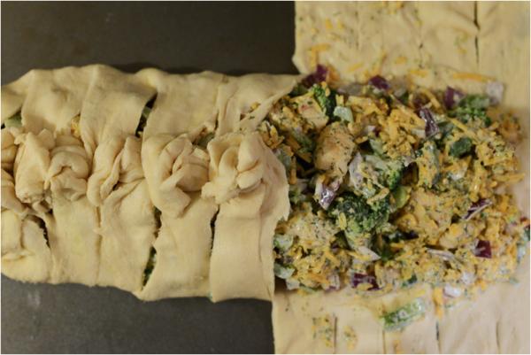 DIY Broccoli Cheddar Chicken Crescent Braid Recipe 3