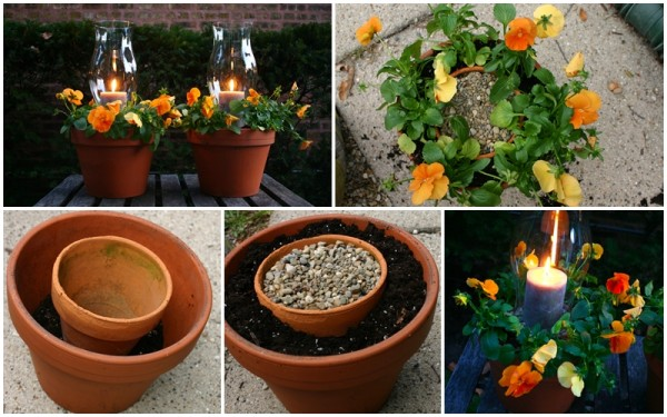 DIY Candle Holder And Flower Pots Combo