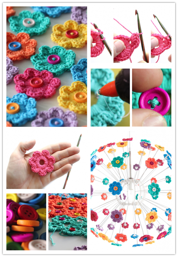 DIY Mini Button Crochet Flowers 2