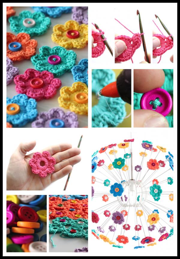 DIY Mini Button Crochet Flowers 2
