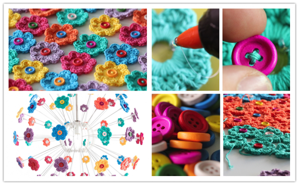 DIY Mini Button Crochet Flowers