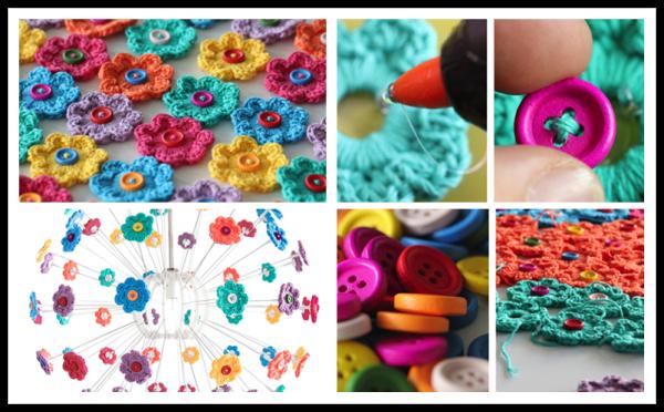 DIY Mini Button Crochet Flowers
