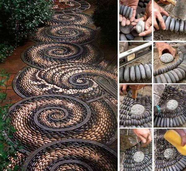 DIY Pebble Mosaic Garden Path 1