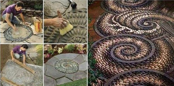 DIY Pebble Mosaic Garden Path 2