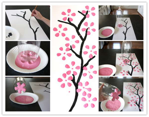 How To Paint Cherry Blossom Canvas Art With Recycled Soda Bottle