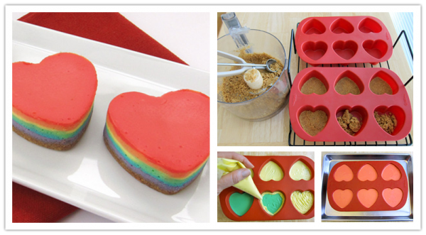 Mini Heart Rainbow Cheesecakes 2