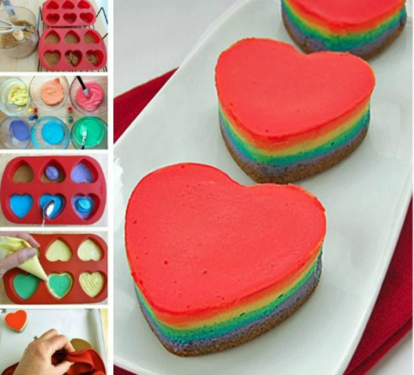 Mini Heart Rainbow Cheesecakes